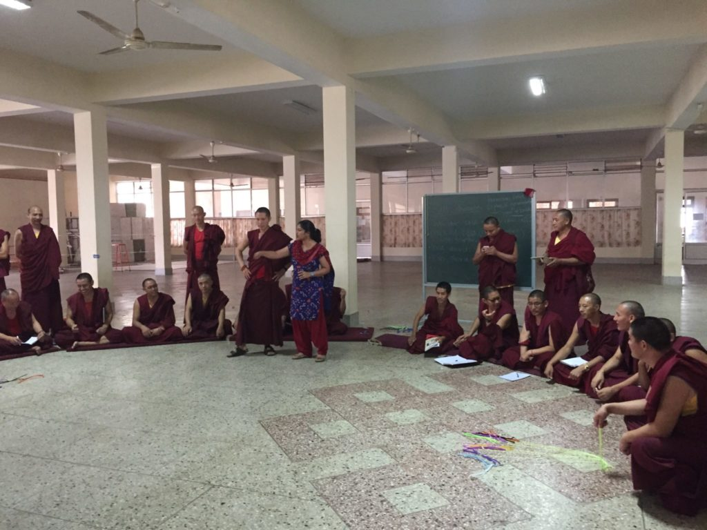 Meena Balgopal teaches monks about cell reproduction