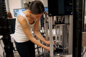Aurora Popescu works full time in CSU's High Energy Physics lab and is the president of the Women in Physics club.