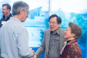 faculty emeritus talking at the breakfast