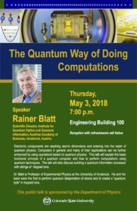 Rainer Blatt physics lecture poster