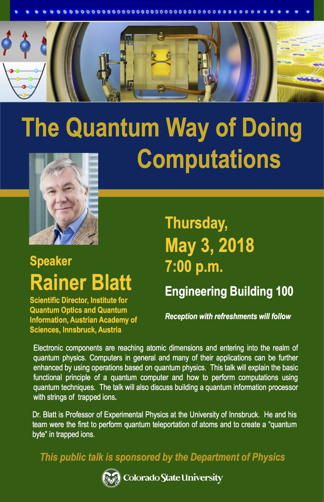 Renowned experimental physicist to give public lecture on