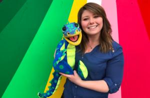 csu undergrad megan casey with her puppet aidan