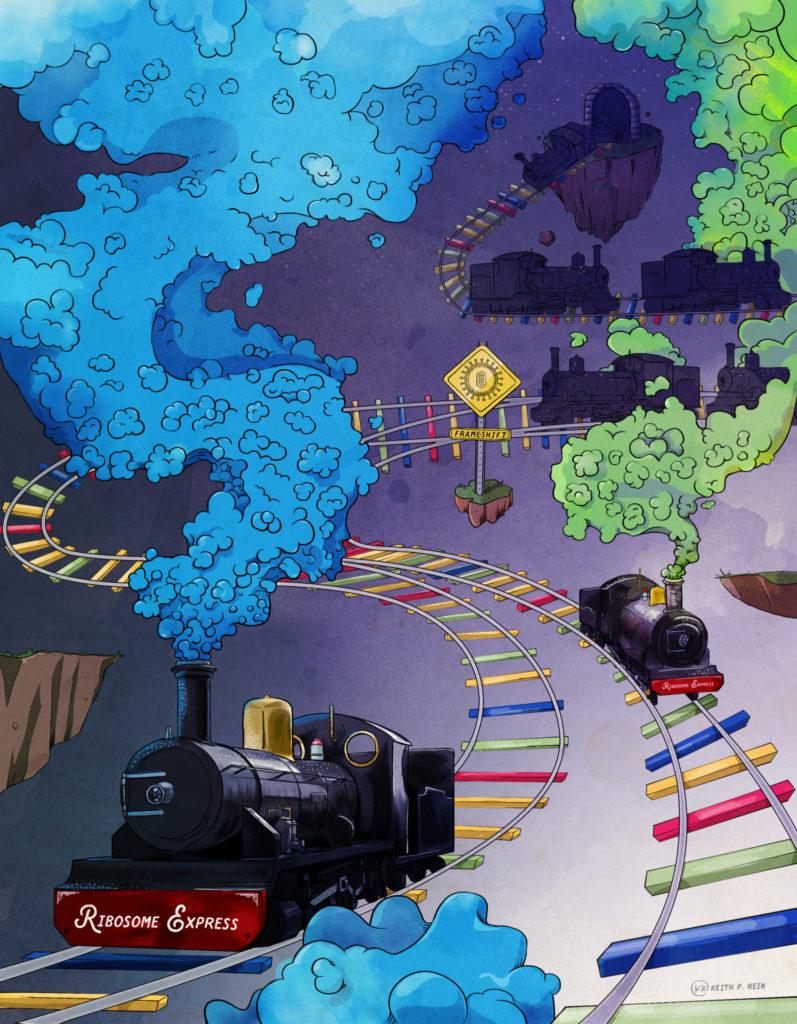 train and tracks illustration representing frameshifting