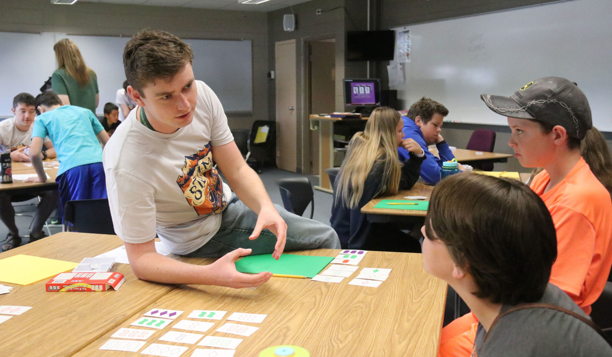 student plays set at math circles camp