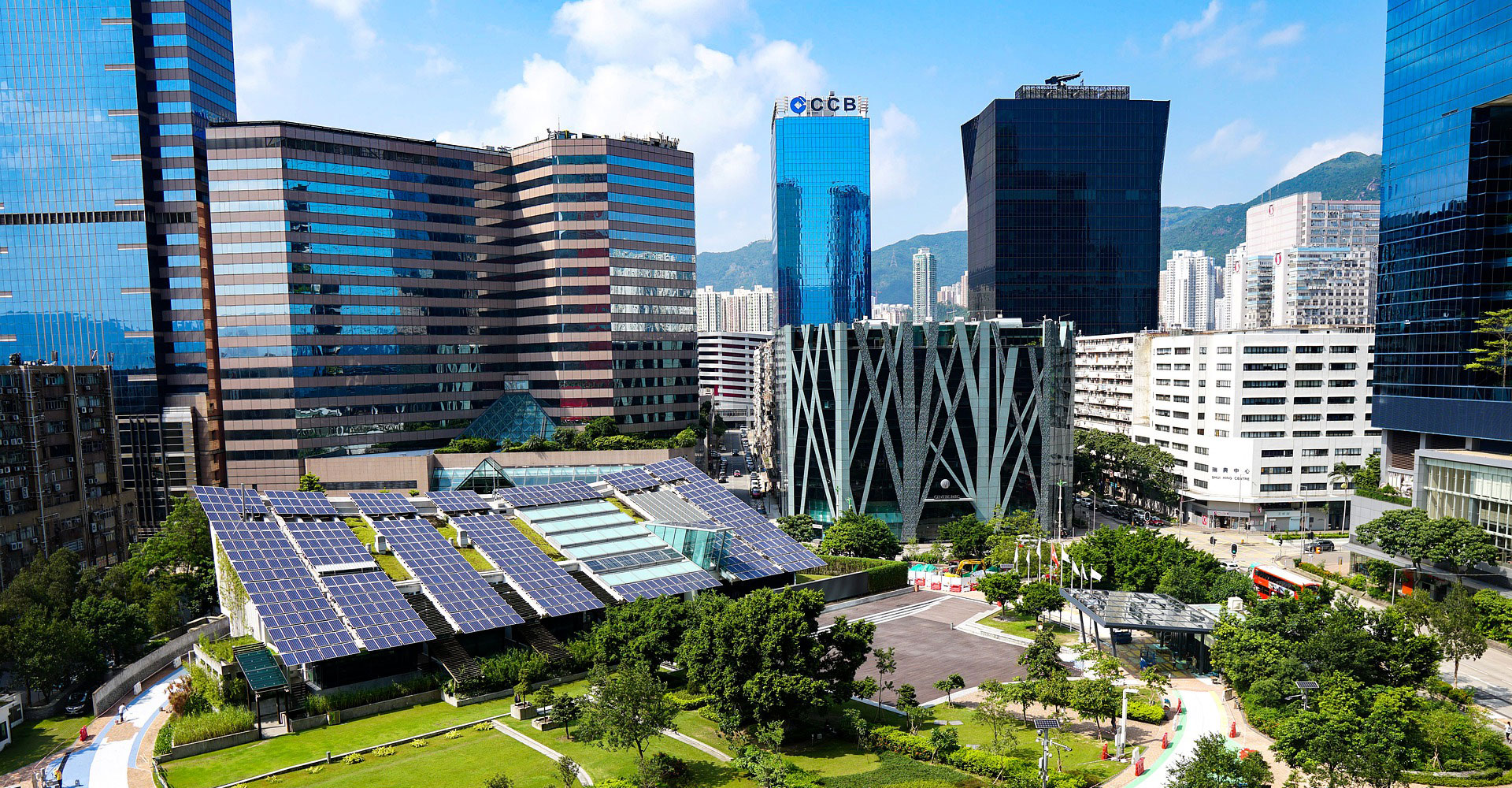 city skyline with solar panels