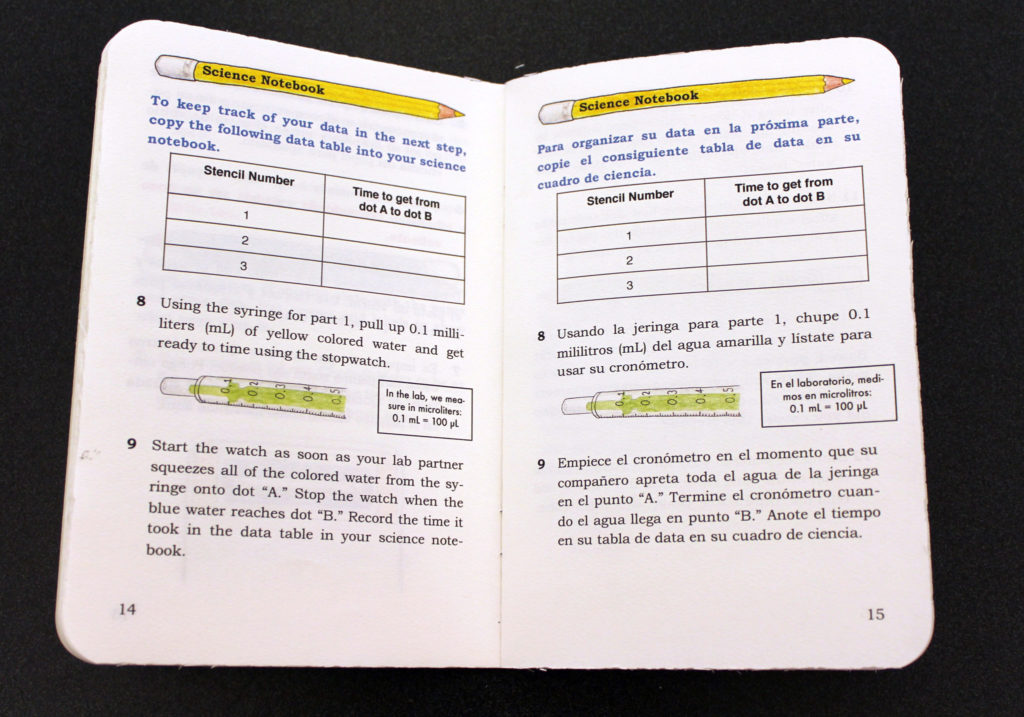 The Chem-O-Meters workbook is open to show how the directions are translated into Spanish and English.