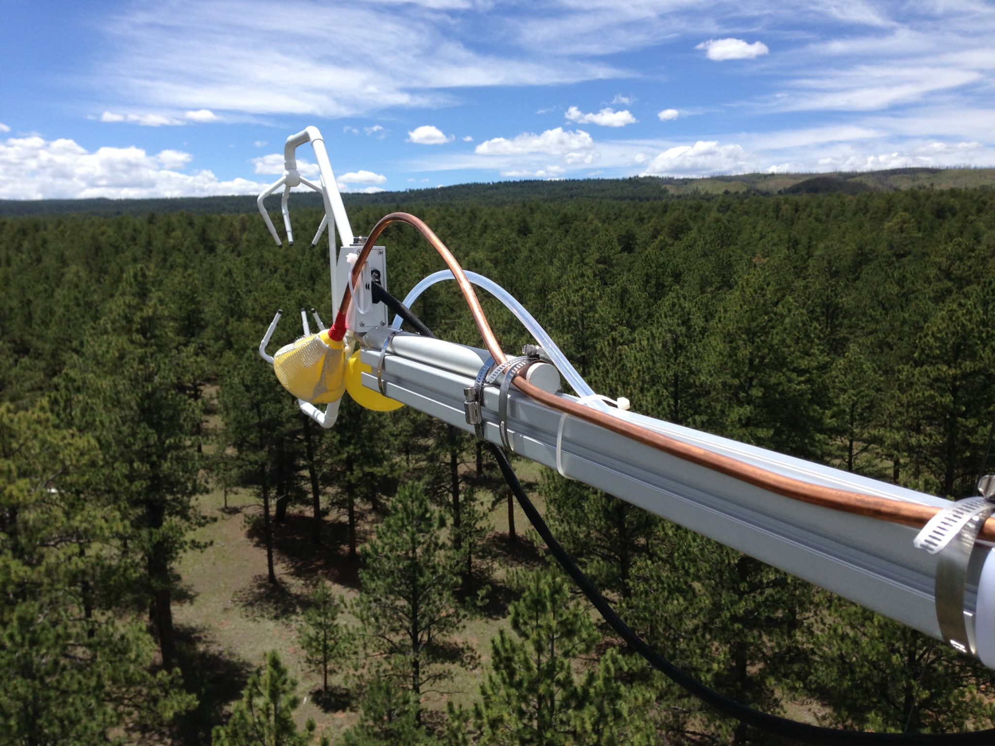 Collection equipment high above the forest