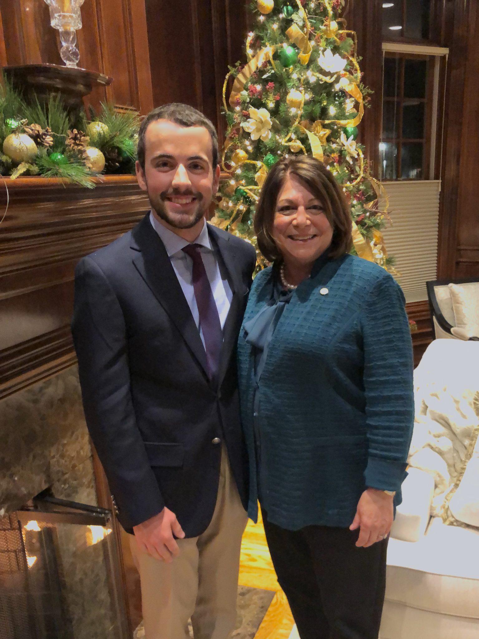 Brandon Paez with CSU President Joyce McConnell